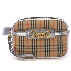 BURBERRY Check-Canvas Heritage Print Leather Belt-Bag NWT